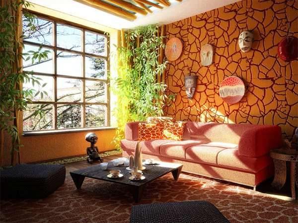 африканский стиль в интерьере гостиной