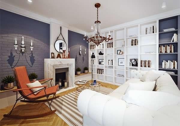 синий и белый интерьер гостиной с камином