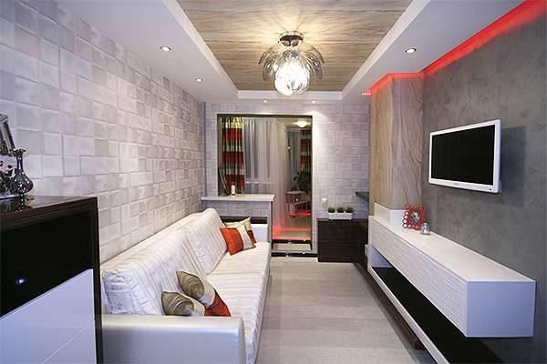 бело-серый цвет в интерьере гостиной