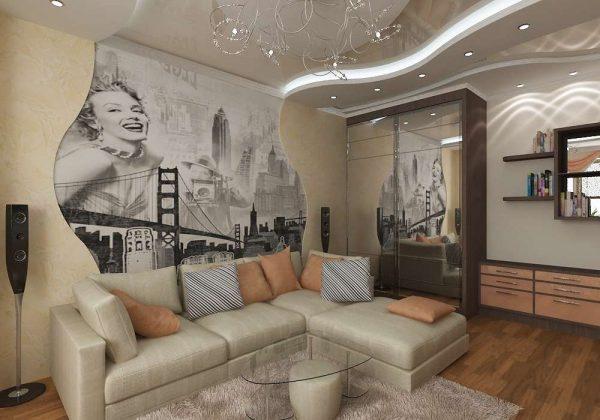 интерьер гостиной стены из гипсокартона