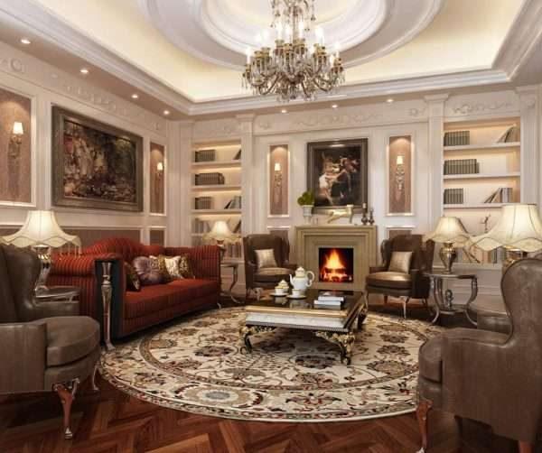 отделка в гостиной 17 кв. м в классическом стиле