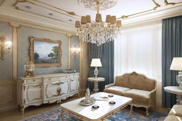 в интерьере гостиной 17 кв.м. в классическом стиле роскошная мебель