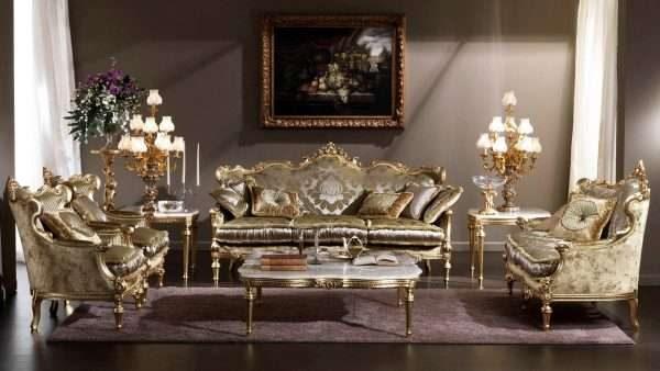 диванный гарнитур в интерьере гостиной 17 кв.м. в классическом стиле