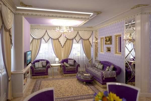 в интерьере гостиной 17 кв.м. в классическом стиле мебель фиолетового цвета
