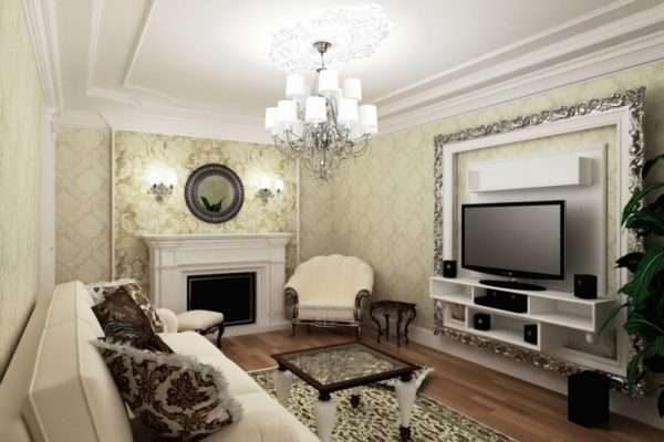 камин в интерьере гостиной 17 кв.м. в классическом стиле