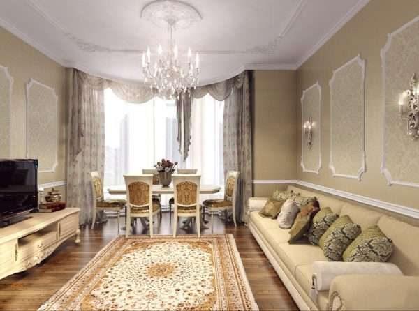 обеденный стол в гостиной 17 кв.м. в классическом стиле