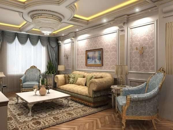 потолок с подсветкой в интерьере гостиной 17 кв.м. в классическом стиле