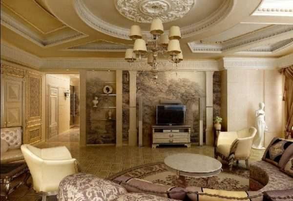 в интерьере гостиной 17 кв.м. в классическом стиле многоуровневый потолок