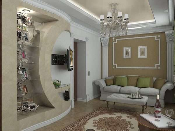 декоративная стена в интерьере гостиной 17 кв.м. в классическом стиле