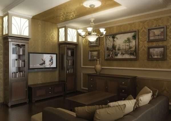декор потолка обоями в интерьере гостиной 17 кв.м. в классическом стиле