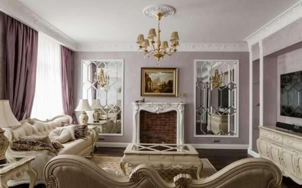 фиолетовый цвет в интерьере гостиной 17 кв.м. в классическом стиле