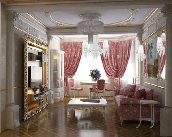 розовые шторы в гостиной 17 кв.м. в классическом стиле