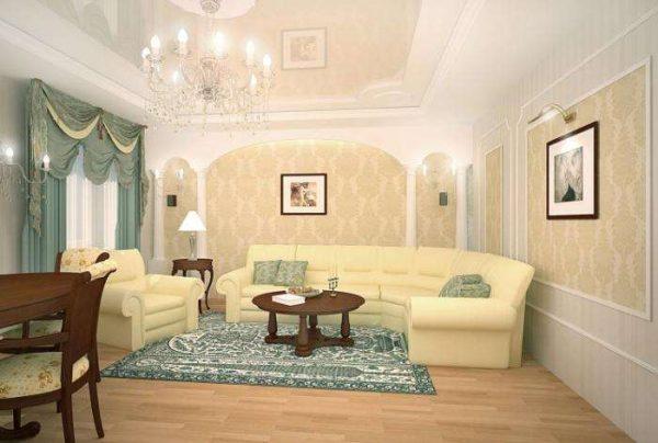 в гостиной в классическом стиле стены с обоями