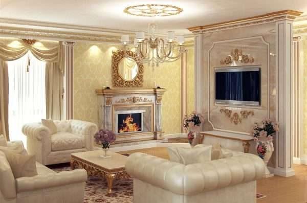 в гостиной 17 кв. м в классическом стиле