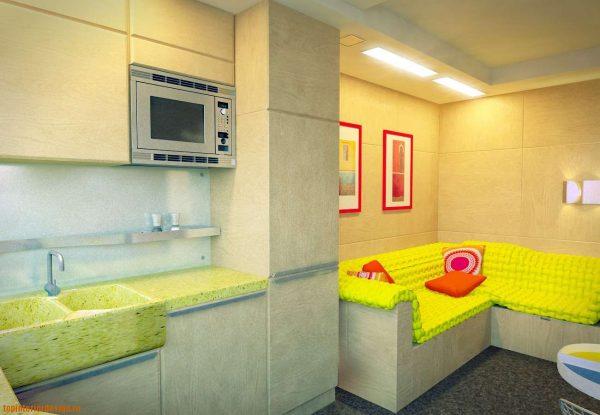 дизайн кухни гостиной 13 кв.м в ярких цветах