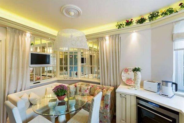 дизайн кухни гостиной 13 кв.м в стиле прованс
