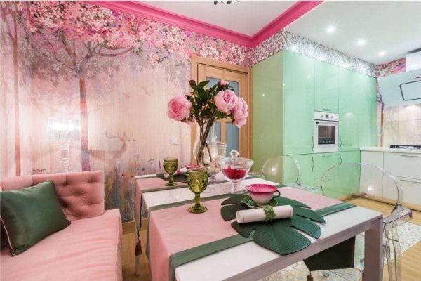 дизайн кухни гостиной 13 кв.м с обеденным столом