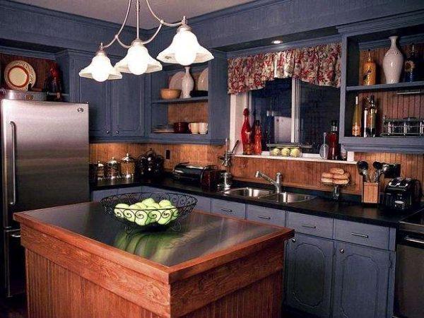 дизайн кухни гостиной 13 кв.м. в деревенском стиле
