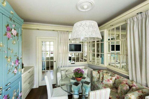 дизайн кухни гостиной 13 кв.м. в стиле прованс