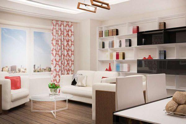 белая мебель в интерьере кухни гостиной