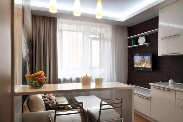 дизайн кухни гостиной 13 кв.м. с барной стойкой