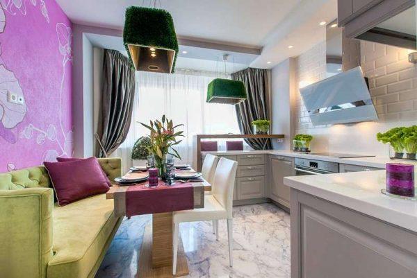 дизайн кухни гостиной 13 кв.м. с фиолетовым цветом стен