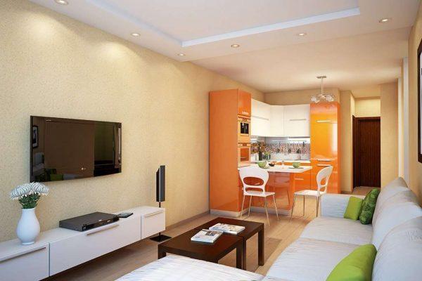 дизайн кухни гостиной 13 кв.м. с угловым гарнитуром
