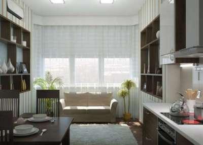интерьер кухни гостиной 13 кв. м с белым диваном