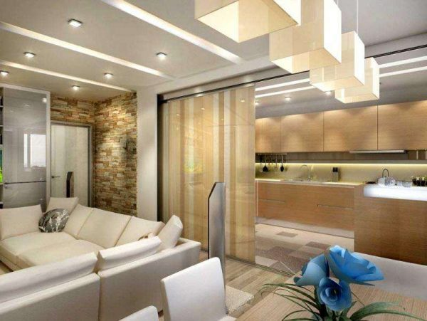 Зонирование кухни гостиной 13 кв.м с помощью освещения