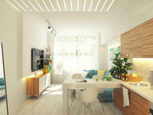 дизайн кухни гостиной 13 кв.м в светлых тонах