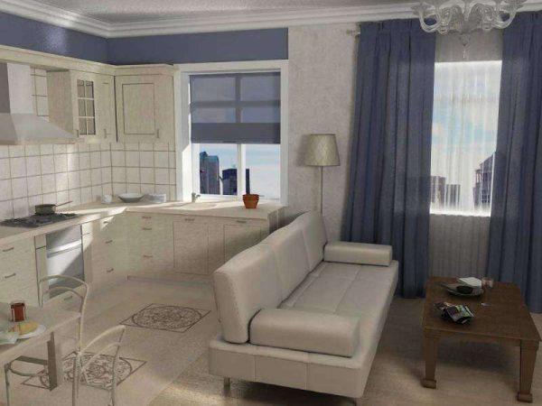 диван на кухне гостиной 14 кв. м.