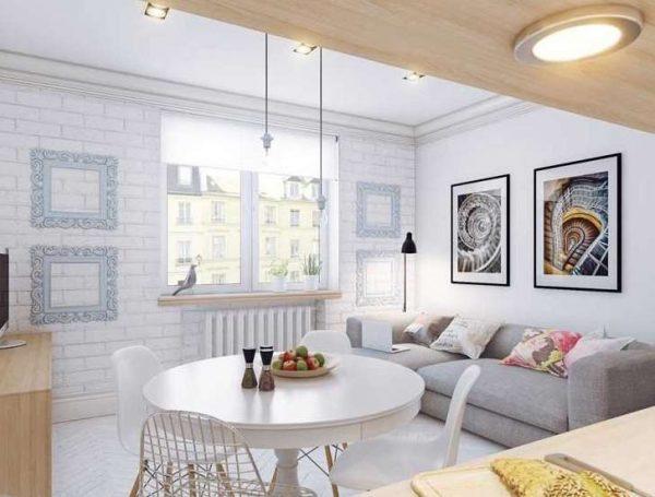 Дизайн кухни-гостиной 14 кв м в скандинавском стиле