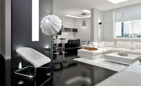 Дизайн кухни-гостиной 14 кв м в стиле хай тек