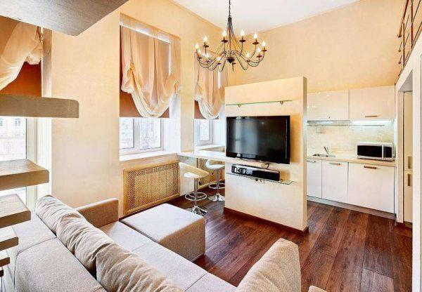 перегородка под телевизор в интерьере кухни гостиной 14 кв. м.