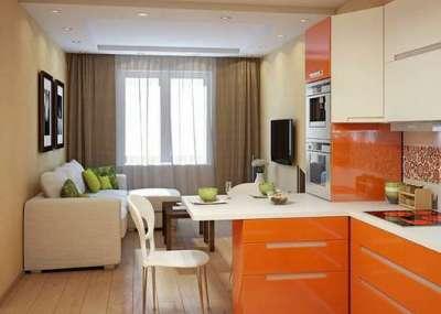 зонирование кухни гостиной 14 кв. м