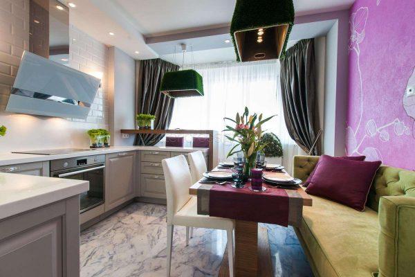 фиолетовый и оливковый в интерьере кухни гостиной 14 кв. м.