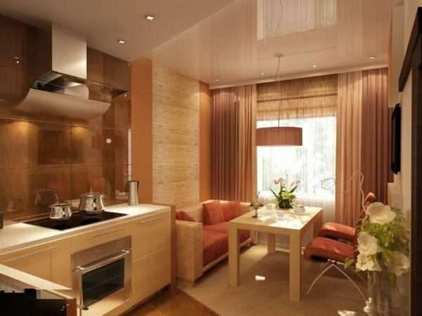 песочный в интерьере кухни гостиной 14 кв. м.