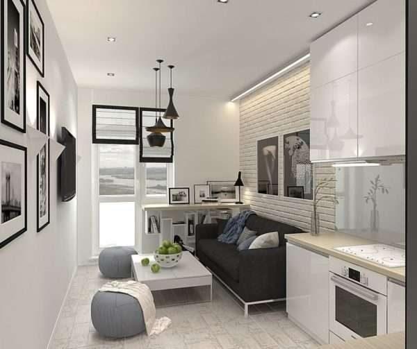 сочетание белого и серого в интерьере кухни гостиной 14 кв. м.