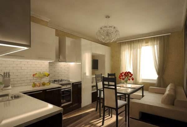 угловой гарнитур в интерьере кухни гостиной 14 кв. м.
