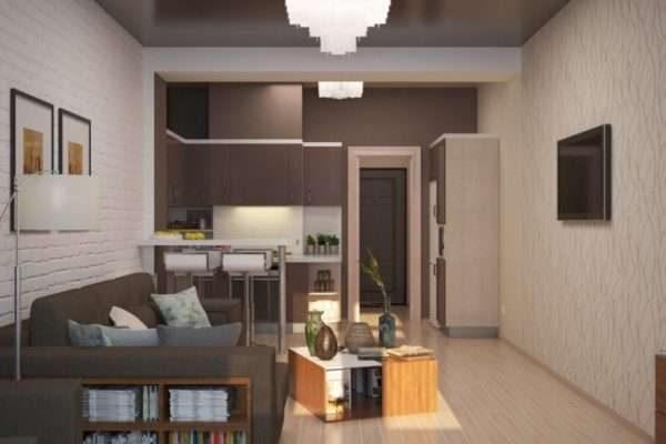 коричневый в интерьере кухни гостиной 14 кв. м.