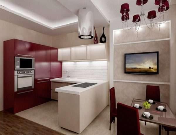 красный и белый цвет в интерьере кухни гостиной 14 кв. м.