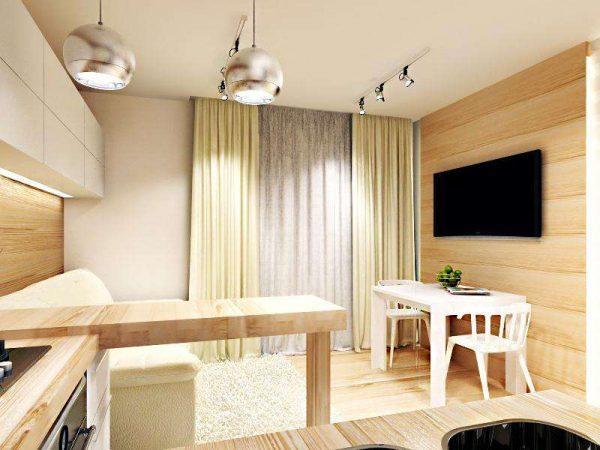 барная стойка в интерьере кухни гостиной 14 кв. м.