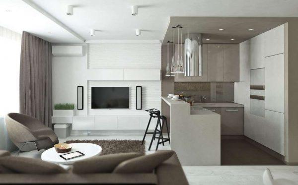 Дизайн кухни гостиной 17 кв м с зонированием барной стойкой
