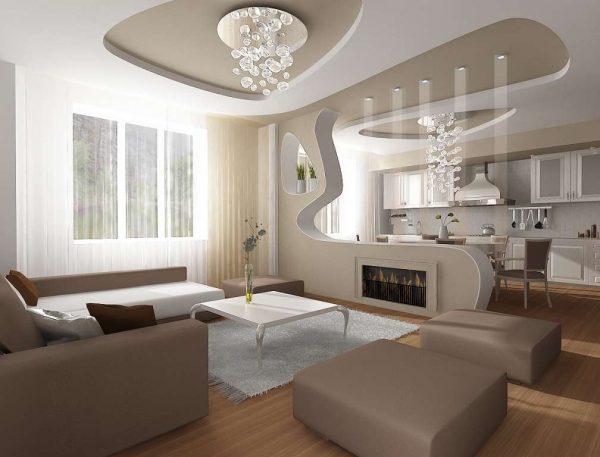 Дизайн кухни гостиной 17 кв м с перегородкой из гипсокартона