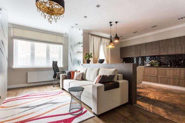 белый диван в интерьере кухни гостиной 17 кв. м
