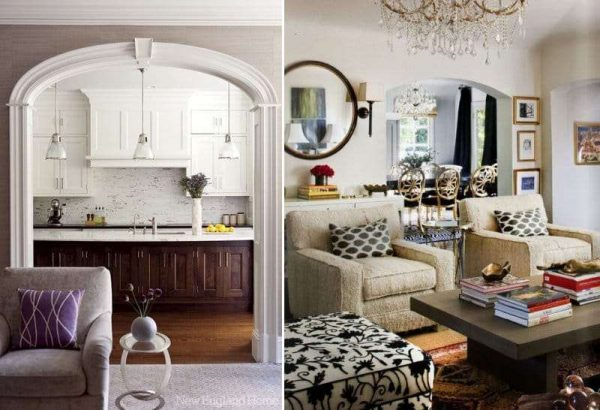 кресла в интерьере кухни гостиной 17 кв. м с аркой