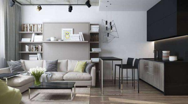 угловой диван в интерьере кухни гостиной 17 кв. м