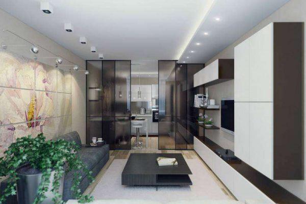 раздвижная перегородка в интерьере кухни гостиной 17 кв. м