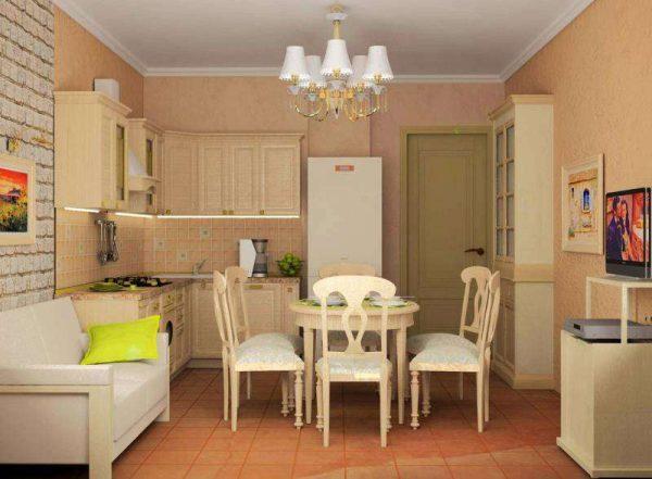 освещение обеденной зоны в интерьере кухни гостиной 17 кв. м
