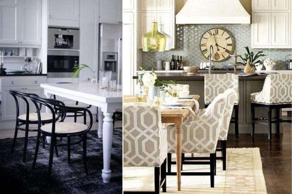 стильные стулья в интерьере кухни гостиной 17 кв. м